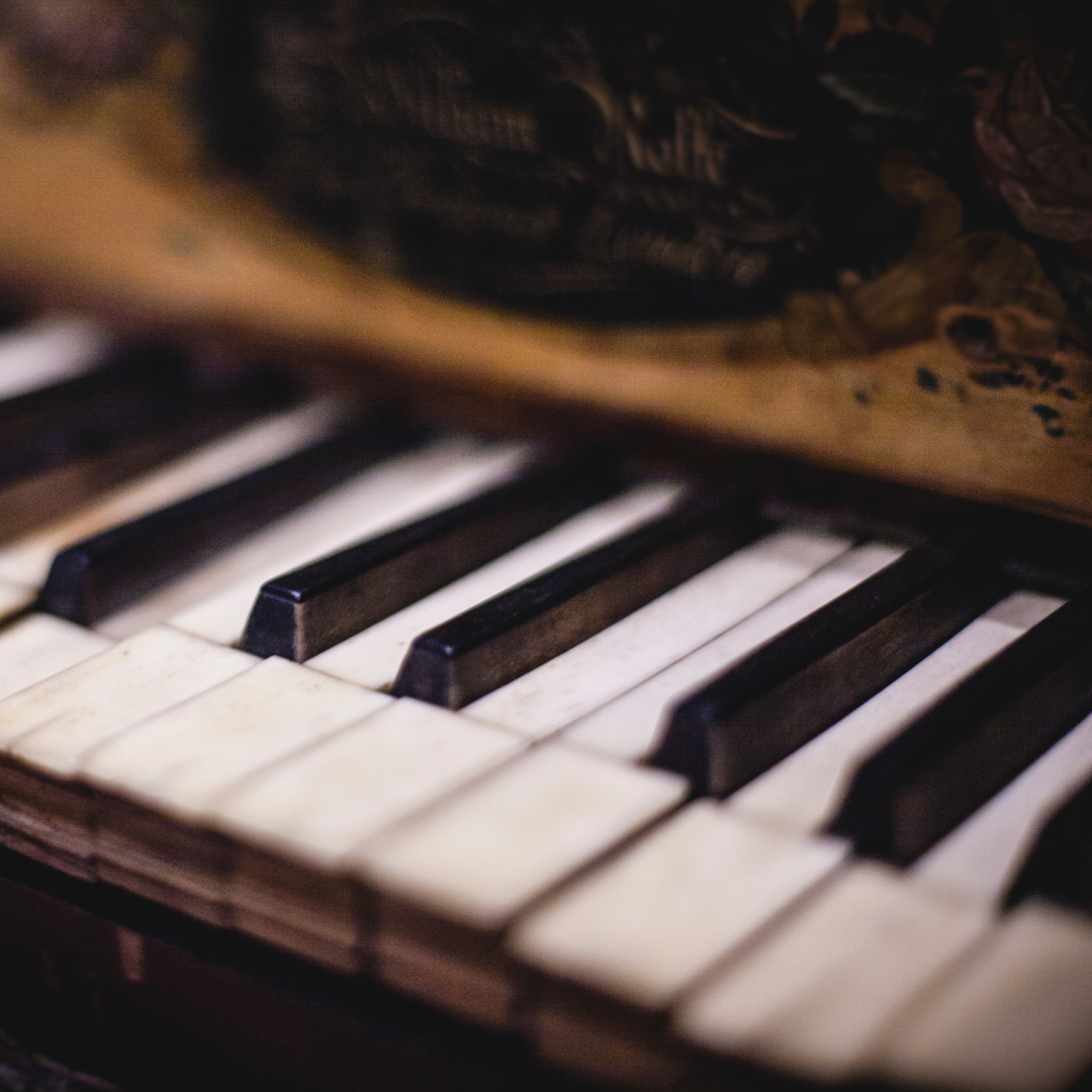 The keyboard of an antique piano