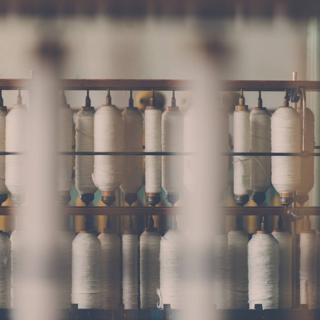 Bobbins of thread in a cotton mill